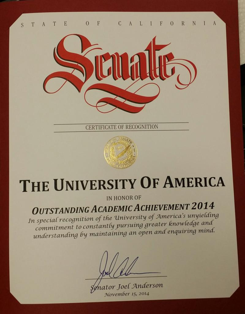 CA SENATE RECOGNITION